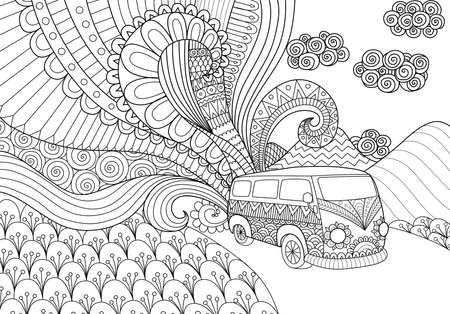 Van line art design for coloring book for adult Ilustracja