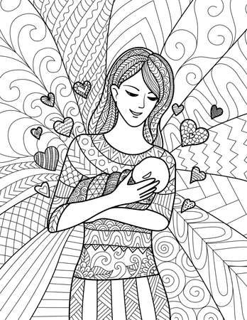 Mother holding her baby, clean line doodle art design for coloring book for adult, cards and so on Иллюстрация