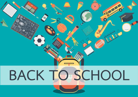 stuffs: School stuffs flowing into school back. Back to school concept for background, poster and design element Illustration