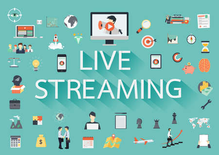 The word LIVE STREAMING with long shadow surrounded by concerning flat icons Stock Illustratie
