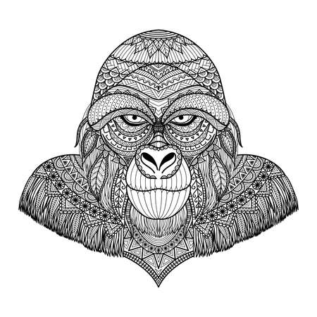 abstract gorilla: Clean line doodle art of Gorilla for adult coloring book pages and T-Shirt Graphic Illustration