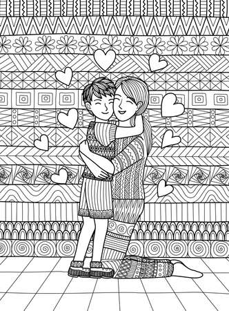 Son and mom squeezing and showing love, clean lines doodle design for coloring book for adult