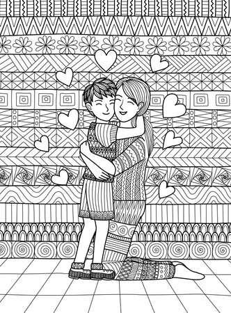 Zoon en moeder knijpen en het tonen van liefde, strakke lijnen doodle ontwerp voor kleurboek voor volwassen