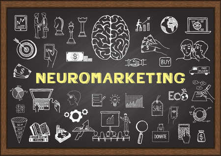 Hand drawn icons about NEUROMARKETING on chalkboard