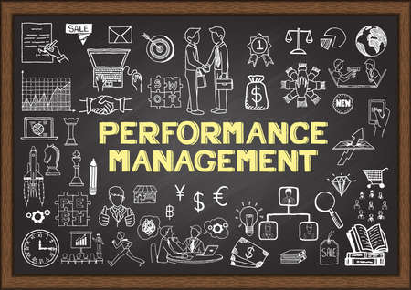 Hand drawn business icons about Performance Management on chalkboard for banner