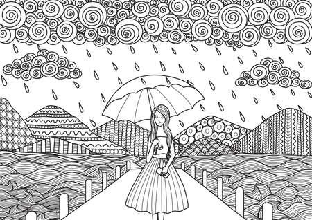 Mooi meisje dat op de brug, terwijl het regent, doodle art design voor volwassen kleurboek pagina's en andere decoraties