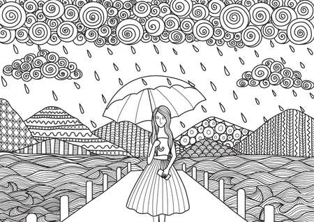Beautiful girl walking on the bridge while its raining, doodle art design for adult coloring book pages and other decorations