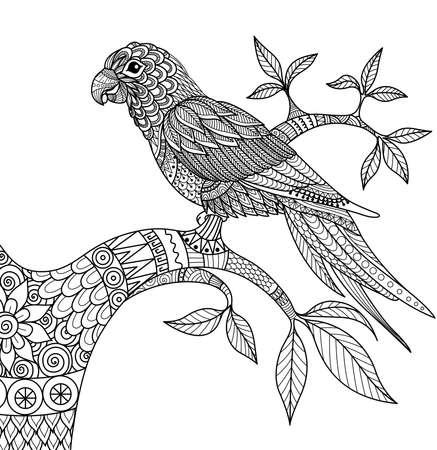 Doodle design of parrot on branch for adult coloring book Illustration