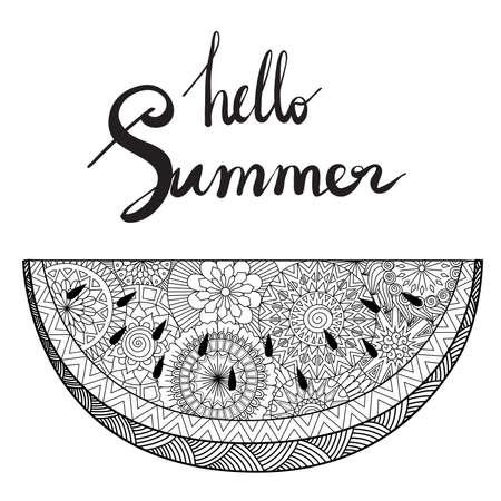 Ciao estate disegnata a mano con fetta di anguria per elemento di design o libro da colorare per adulti. Illustrazione vettoriale Vettoriali