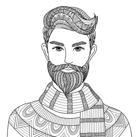 Lines art design of hipster man for adult coloring book,tattoo, poster and T-Shirt design Vettoriali
