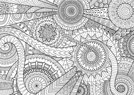 Complex mandala movement design for adult coloring book and background Ilustração