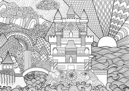 coloring pages to print: Zendoodle castle landscape for background, adult coloring and design element.