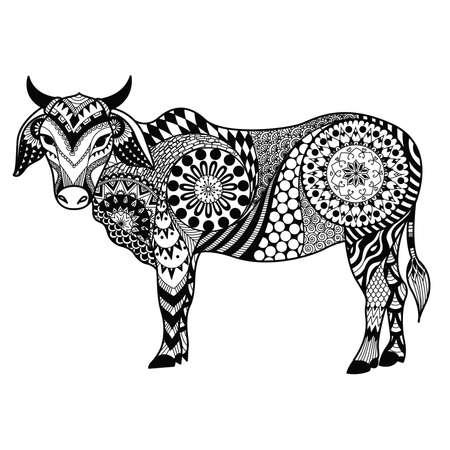 Las Líneas Limpias Del Diseño Del Doodle De Vaca Para Colorear ...