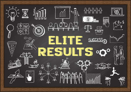 upshot: Hand drawn business icons about Elite Results on chalkboard