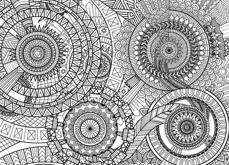complex: Complex mandala movement design for adult coloring book and background Illustration
