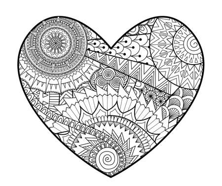 zendoodle in heart shape for coloring books for adult , cards, T- Shirt graphic, tattoo and other decorations. Vektoros illusztráció