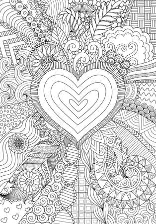 Zendoodle design of heart shape on abstract line art background design for background,wedding card,design element and adult coloring book for anti stress Иллюстрация