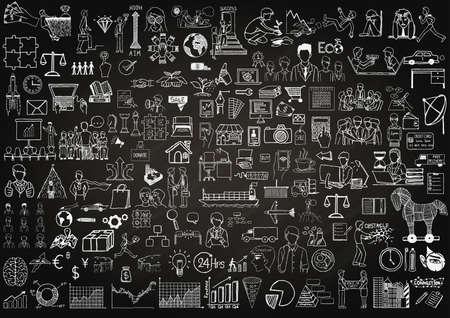 Bedrijfs iconen op schoolbord voor achtergrond