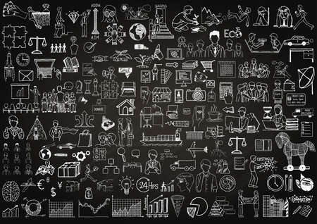 business icons on chalkboard for background