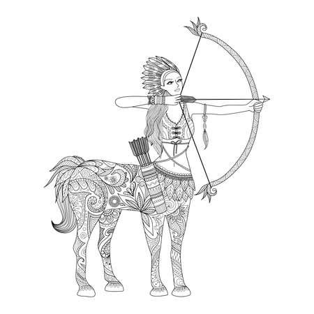 diseño doodle de Centaur chica para colorear para adultos