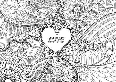 Zendoodle design of heart shape on abstract line art background design for background,wedding card,design element and adult coloring book for anti stress Illustration