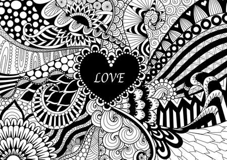 Line Art Design Abstract : Zendoodle design of heart shape on abstract line art background
