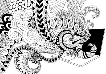 anti stress: Doodle design of fun line art flowing out of laptop for adult coloring book pages for anti stress Illustration