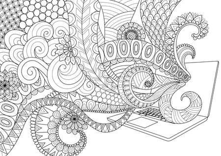 Doodle design of fun line art flowing out of laptop for adult coloring book pages for anti stress Illustration
