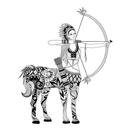 african warriors: Doodle design of centaur girl for adult coloring book and other decorations