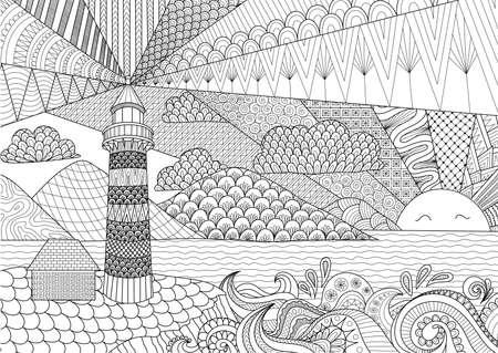 El diseño del arte del paisaje marino por línea de libro de colorear para los adultos, anti estrés para colorear