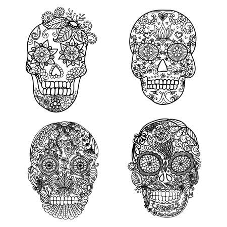 anti stress: Unique floral skulls for adult coloring boook