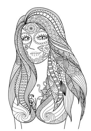 black woman: Doodle design of sexy girl dress up for Halloween party , design for Halloween design element and adult coloring - Stock vector Illustration