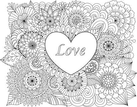 Corazón En Las Flores Para Colorear Libros Para Adultos O Tarjeta De ...