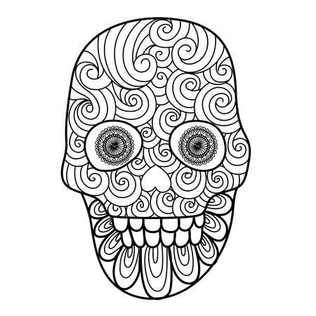 Kunst-Linien Entwurf einzigartiger Schädel für erwachsene Malvorlagen, Tätowierung, Design-Element für Halloween-Karten oder Einladungen Standard-Bild - 63513165