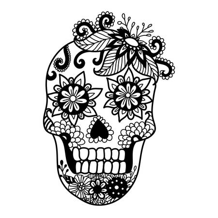 dead leaf: Lines art design of unique skull for adult coloring pages,tattoo, design element for Halloween cards or invitations
