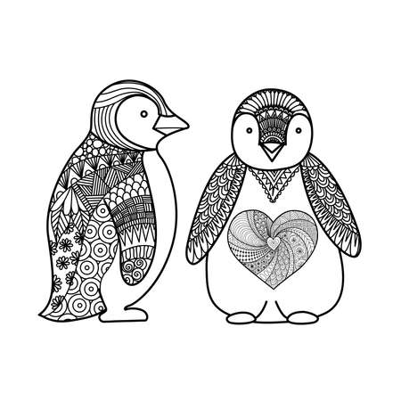 Two penguins line art design for coloring book for adult , T - shirt design and other decorations