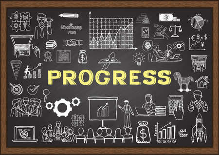 smart goals: Hand drawn icons about progress on chalkboard