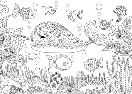 vanish: Doodles design of a little whale under the sea with beautiful corals for adult coloring book - Stock vector