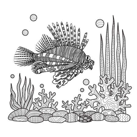 lionfish: Unique zen doodles design of zebrafish swimming around sea corals,stones and seaweeds for T-Shirt design,tattoo, design element and adult coloring book pages - Stock vector