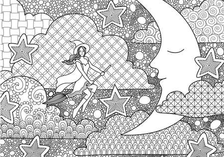 anti stress: Pretty with flying through sleeping crescent at night, design for adult coloring book pages for anti stress and design element for Halloween card Illustration