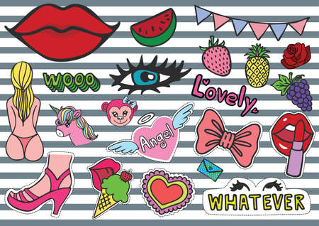 Hand drawn colorful T shirt patches chick stuffs including ice cream, bikini, eyelash, red lips, whatever eyes roll, female monkey, purse, fruits, party confetti,unicorn and so on - Stock Vector