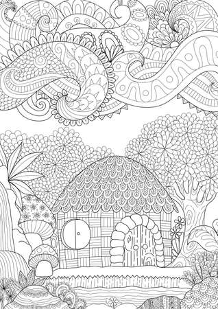 Zendoodle design of small hut in the forest with abstract clouds for adult coloring book for anti stress - Stock vector