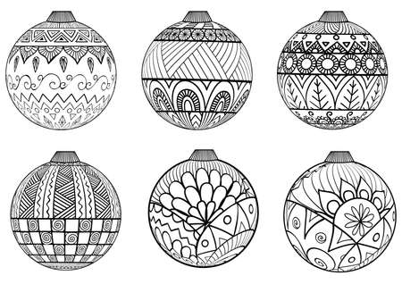 Doodles design of Christmas balls for adult coloring Vectores