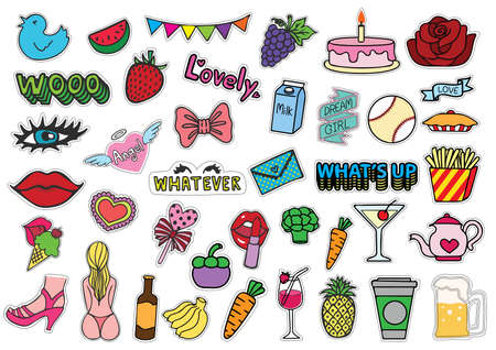 whatever: Hand drawn colorful T shirt patches sexy chick stuffs including ice cream, bikini, eyelash, red lips, whatever eyes roll, female monkey, purse, fruits, party confetti,unicorn and so on - Stock