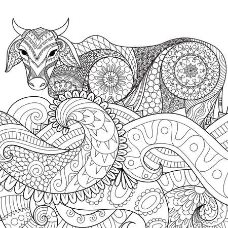 Zendoodle Design Of Cow Swimming In The Ocean For Adult Coloring Book Pages Vector
