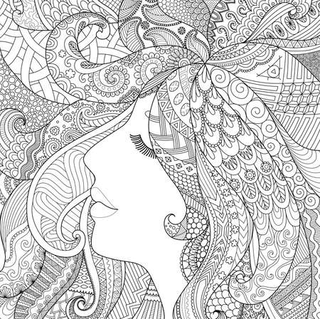 woman hair: zendoodle design of girl sleeping with shadow effect for adult coloring book pages for anti stress