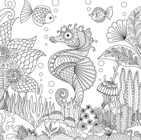 Zendoodle design of seahorse swimming under ocean surrounding by beautiful corals and seaweeds, for adult coloring book pages for anti stress - Stock