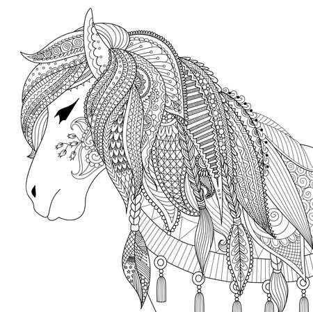 Zendoodle diseño del caballo para el libro de colorante para los adultos contra el estrés Foto de archivo - 66635445