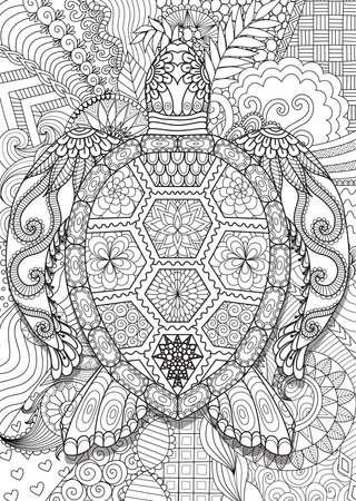 Zen doodle design of turtle