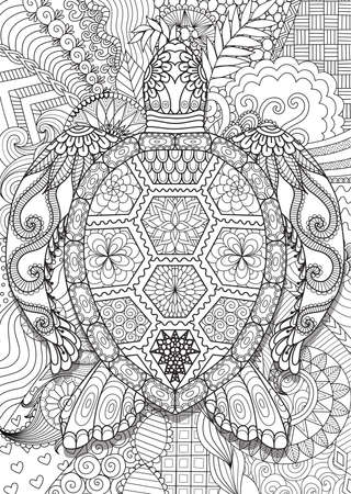 Zen doodle design of turtle
